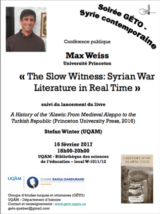 Conférence: «The Slow Witness: Syrian War Literature in Real Time»