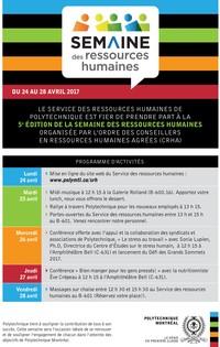 Semaine des ressources humaines : du 24 au 28 avril 2017