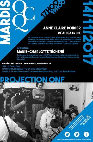 Mardi OCQ : Projection ONF avec Anne Claire Poirier