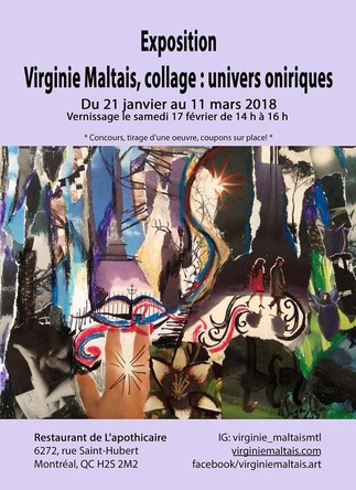 Exposition Virginie Maltais, collage: univers oniriques