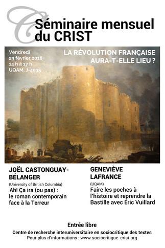 Séminaire mensuel du CRIST: «La Révolution française aura-t-elle lieu?»