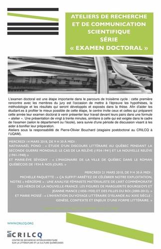Atelier de recherche et de communication scientifique avec Nathanël Pono et Marie-Ève Sévigny