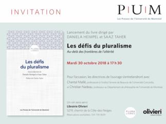 Lancement du livre Les défis du pluralisme : au-delàdes frontières de l'altérité, par Daniela Heimpel et Saaz Taher