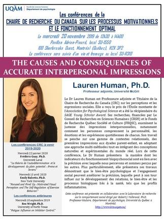 Conférence de Lauren Human Ph.D. – Le mercredi 20 novembre 2019 à 12h30 au SU-1550 (UQAM, 100 Sherbrooke Ouest)