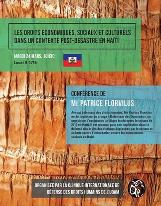 Conférence: «Les droits économiques, sociaux et culturels dans un contexte post-désastre en Haïti»