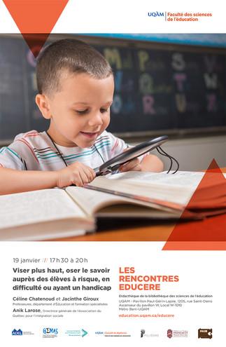 Les Rencontres Educere: «Viser plus haut, oser le savoir auprès des élèves à risque, en difficulté ou ayant un handicap»