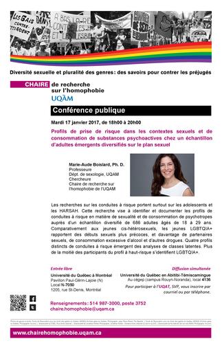 Conférence: «Profils de prise de risque dans les contextes sexuels et de consommation de substances psychoactives chez des adultes émergents LGBTQIA+»