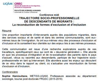 Conférence midi: «Trajectoire socio-professionnelle de descendants de migrants: La reconduction de formes d'exclusion et d'inclusion»