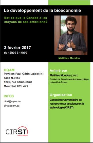 Conférence: «Le développement de la bioéconomie: est-ce que le Canada a les moyens de ses ambitions?»
