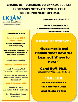 Conférence: «Eudaimonia and Health: What Have We Learned? Where to Next?»