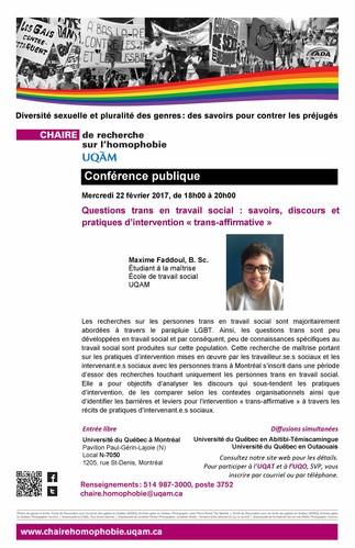 Conférence: «Questions trans en travail social: savoirs, discours et pratiques d'intervention ''trans-affirmative' »