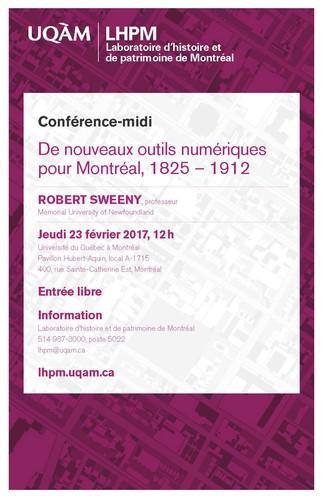 Conférence-midi: «De nouveaux outils numériques pour Montréal, 1825–1912»