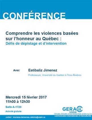 Conférence: «Comprendre les violences basées sur l'honneur au Québec: Défis de dépistage et d'intervention»