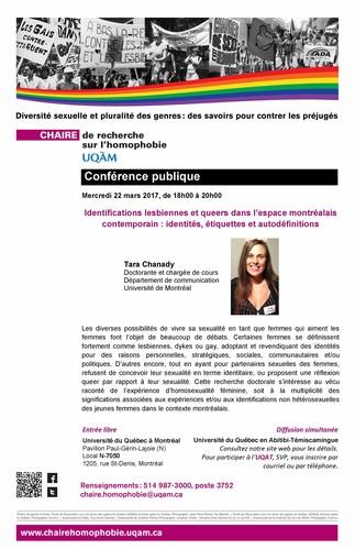 Conférence: «Identifications lesbiennes et queer dans l'espace montréalais contemporain: identités, étiquettes et autodéfinitions»