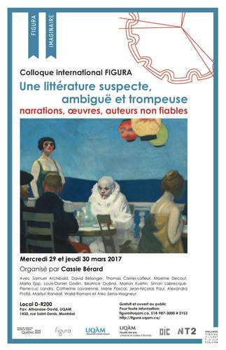 Colloque FIGURA: «Une littérature suspecte, ambiguë et trompeuse: narrations, oeuvres, auteurs non fiables»