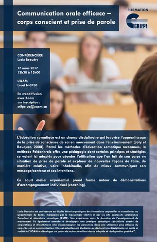 Atelier-conférence: «Communication orale efficace: corps conscient et prise de parole»