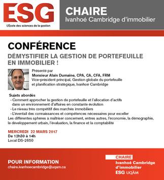 Conférence: «Démystifier la gestion de portefeuille en immobilier»