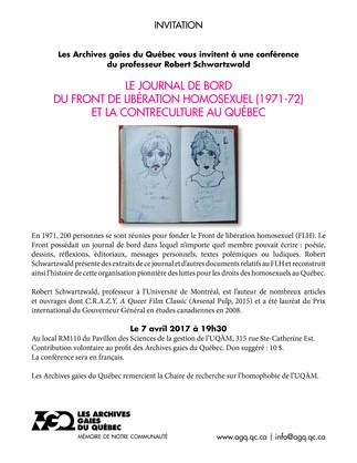 Conférence: «Le journal de bord du Front de libération homosexuel (1971-72) et la contreculture au Québec»