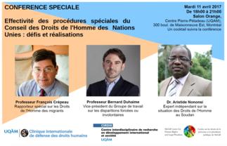 Conférence: «Effectivité des procédures spéciales du Conseil des Droits de l'Homme des Nations Unies»