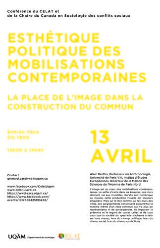 Conférence CÉLAT: «Esthétique politique des mobilisations contemporaines: la place de l'image dans la construction du commun»