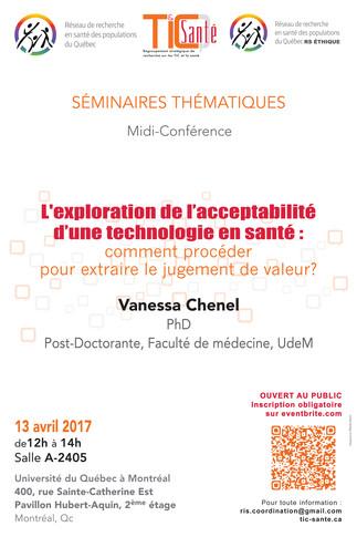 Conférence: «L'exploration de l'acceptabilité d'une technologie en santé: comment procéder pour extraire le jugement de valeur?»