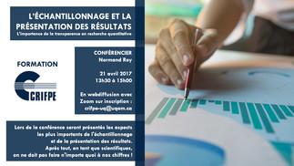 Conférence: «L'échantillonnage et la présentation des résultats en recherche quantitative»