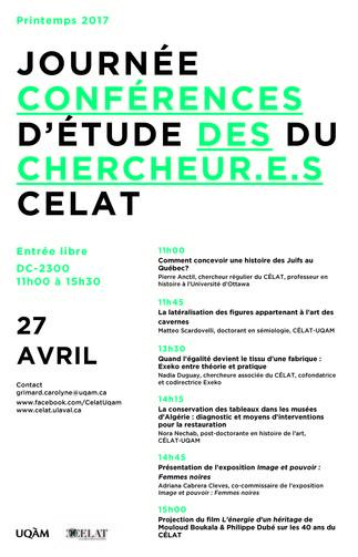 Journée d'étude du CÉLAT: «Conférences des chercheur.e.s»
