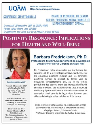 Conférence: «Positivity Resonance: Implications for Health and Well-Being»