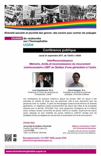 Conférence: «InterReconnaissance. Mémoire, droits et reconnaissance du mouvement communautaire LGBT au Québec d'une génération à l'autre»