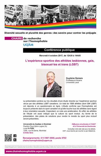 Conférence publique: «L'expérience sportive des athlètes lesbiennes, gais, bisexuel·les et trans (LGBT)»