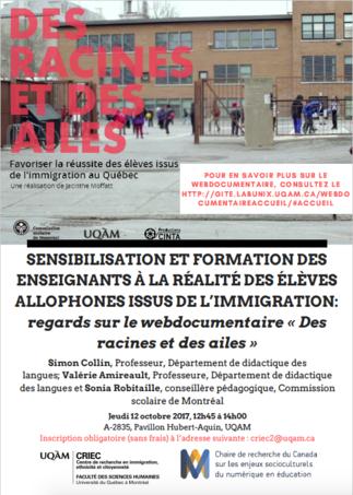 Conférence: «Sensibilisation et formation des enseignants à la réalité des élèves allophones issus de l'immigration»