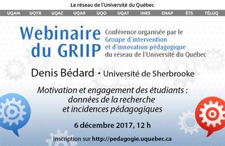 Conférence: «Motivation et engagement des étudiants: données de la recherche et incidences pédagogiques»