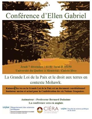 Conférence publique: «La Grande Loi de la Paix et le droit aux terres en contexte Mohawk»