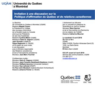 Table ronde: «La politique d'affirmation du Gouvernement du Québec à la lumière du nouvel énoncé de politique sur les relations canadiennes»