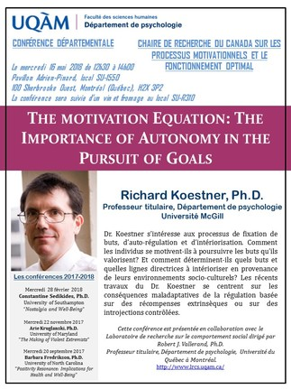 Conférence: «The Motivation Equation: The Importance of Autonomy in the Pursuit of Goals»